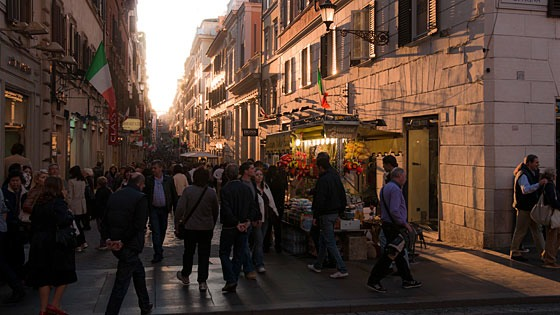 Rome streetscape near Spanish Steps in late afternoon light