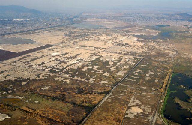 The dry bed and remnant lagoons of Lake Texcoco
