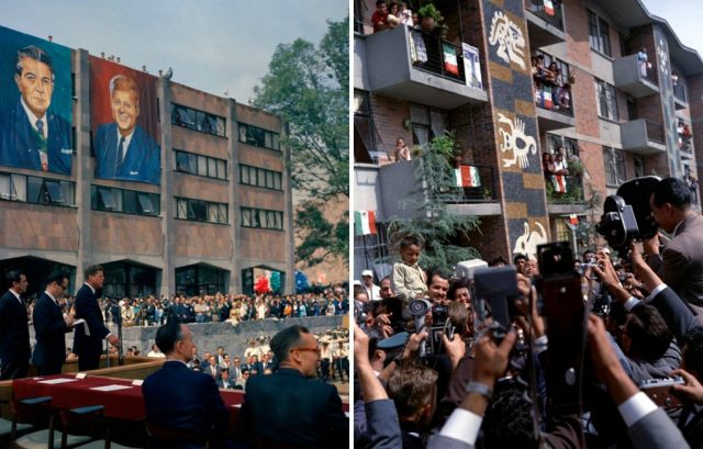 John F. Kennedy at the Unidad Independencia housing complex in Mexico City