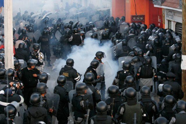 Police clash with protestors in San Salvador Atenco, Mexico