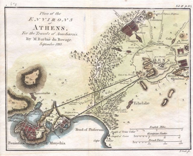 Ancient Athens: city size determined by 30-minute walking distance.
